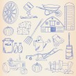 Hand Drawn Farming Icon Set - Stock Vector