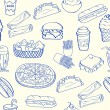 Hand Drawn Seamless Fast Food Icons - Stockvektor