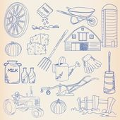 Hand Drawn Farming Icon Set — Stock Vector