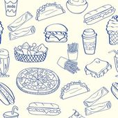 Hand Drawn Seamless Fast Food Icons — Stock Vector