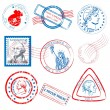 Stock Vector: Historical Stamp Collection Set