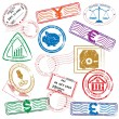 Finance Stamps Icon Set — Stock Vector
