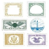 Vintage Air Mail Stamps Icon Set — Stock Vector