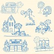 Stock Vector: Hand Drawn Houses Icon Set