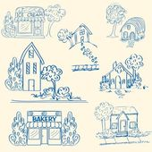Hand Drawn Houses Icon Set — Stock Vector