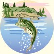 Jumping Bass in the Lake - Imagen vectorial