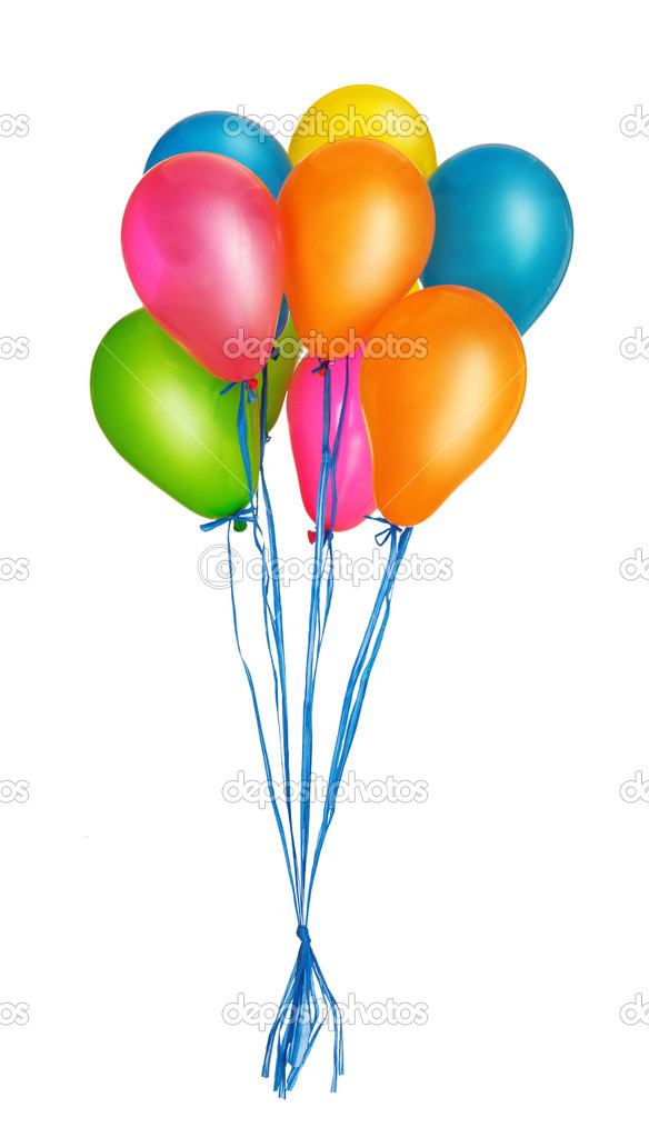 Group of colorful balloons isolated on white background — Stock Photo #8428586