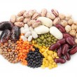 Group of beans and lentils — Stock Photo