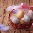 Easter eggs in basket — Stock Photo #8896963