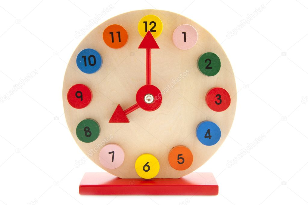 Colorful wooden clock isolated on a white background — Stock Photo #10530086