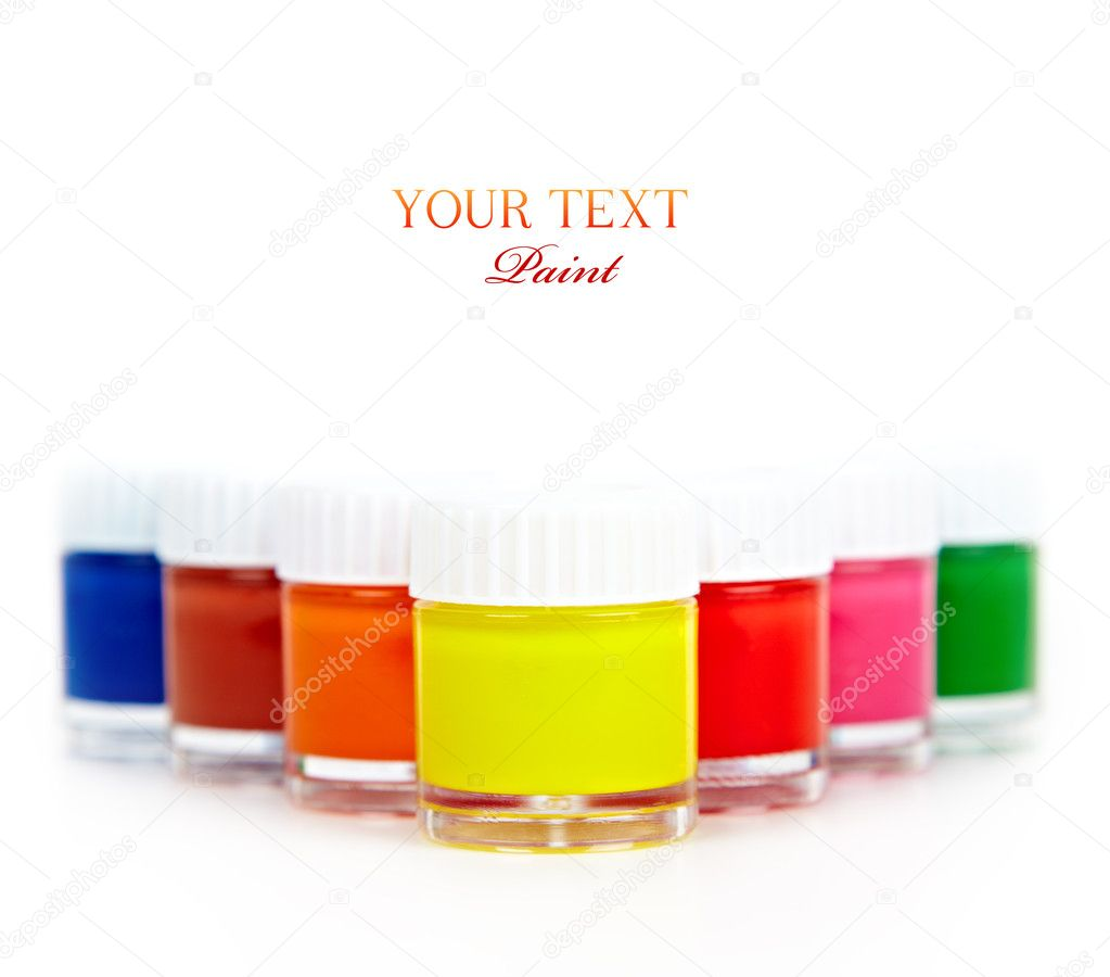 Bright paints in glass containers on a white background — Stock Photo #9839913
