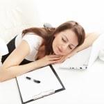Business woman sleeping — Stock Photo