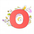 Colorful floral alphabet. Letter O — Stock Vector