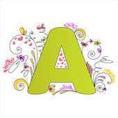 Colorful floral alphabet. Letter A — Stock Vector