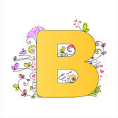 Colorful floral alphabet. Letter B — Stock Vector