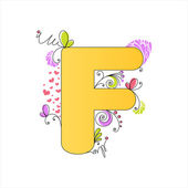 Colorful floral alphabet. Letter F — Stock Vector