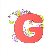 Colorful floral alphabet. Letter G — Stock Vector