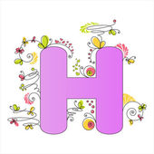 Colorful floral alphabet. Letter H — Stock Vector