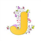 Colorful floral alphabet. Letter J — Stock Vector