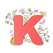 Colorful floral alphabet. Letter K — Stock Vector