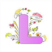 Colorful floral alphabet. Letter L — Stock Vector