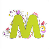 Colorful floral alphabet. Letter M — Stock Vector