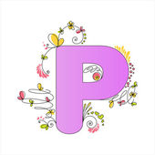 Colorful floral alphabet. Letter P — Stock Vector