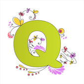 Colorful floral alphabet. Letter Q — Stock Vector