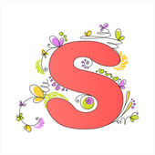 Colorful floral alphabet. Letter S — Stock Vector
