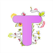 Colorful floral alphabet. Letter T — Stock Vector