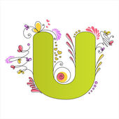 Colorful floral alphabet. Letter U — Stock Vector