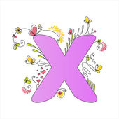 Colorful floral alphabet. Letter X — Stock Vector