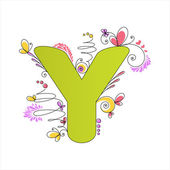 Colorful floral alphabet. Letter Y — Stock Vector