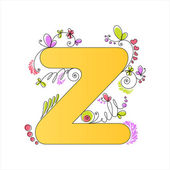 Colorful floral alphabet. Letter Z — Stock Vector