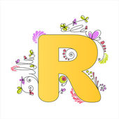 Colorful floral alphabet. Letter R — Stock Vector