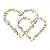 Vacker blommig hjärtan — Stockvektor