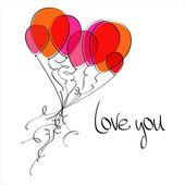 Flying balloons heart — Stock Vector