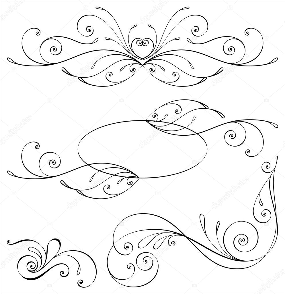 Calligraphic Elements And Page Decoration Stock Vector