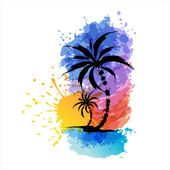 Tropical background with palms — Stock Vector