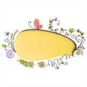 Yellow speech bubble with floral elements — Stock Vector