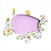 цвет речи пузырь с цветочными элементами — Cтоковый вектор