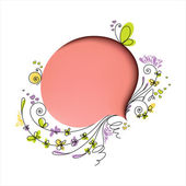 Pink speech bubble with floral elements — Stock Vector
