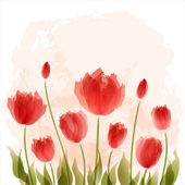 Romantic background with blooming tulips — Stock Vector