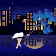 The beautiful girl with balls on a swing at night — Stock Vector #9882003