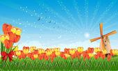 весной поля с тюльпанами и мельница — Cтоковый вектор