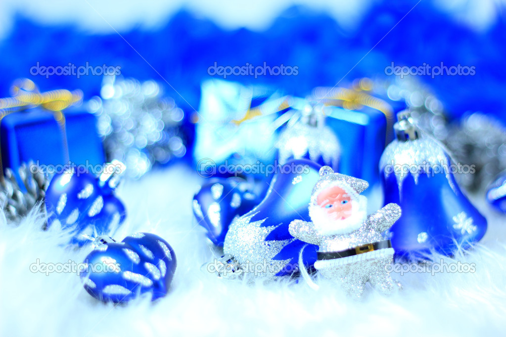 Festive decorations with gift boxes on snow  Stock Photo #7976496