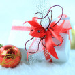 Christmas gift box with christmas balls — Stok fotoğraf