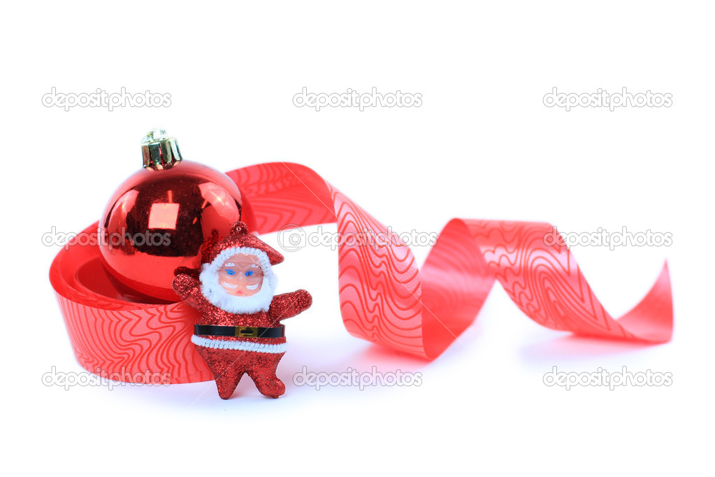 Christmas ball with red ribbon — Stock Photo #7983752