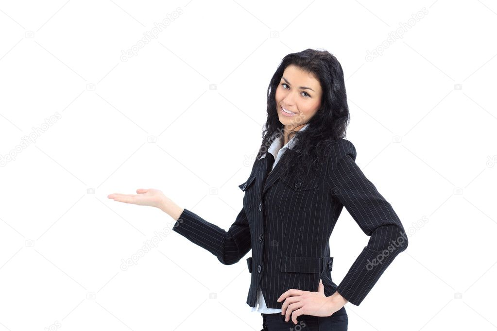 Young beautiful Business woman preseting a product — Stock Photo #8038792