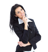 Thoughtful business woman portrait isolated — Stockfoto